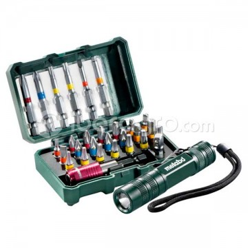 Caja de puntas Metabo SP 29 piezas + mini linterna